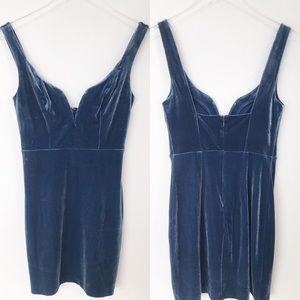 Express Dress Velvet Sweetheart Sheath Dress Blue